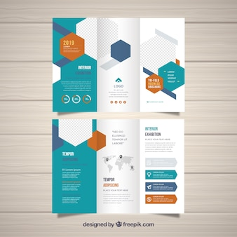 Flat abstract trifold brochure