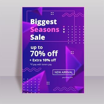 Flat abstract vertical sale poster template