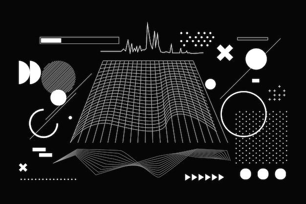フラットな抽象的なワイヤーフレームの背景