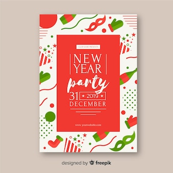 フラットアクセサリーの新しい年のポスターテンプレート 無料ベクター