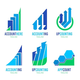 Плоская коллекция логотипов бухгалтерского учета