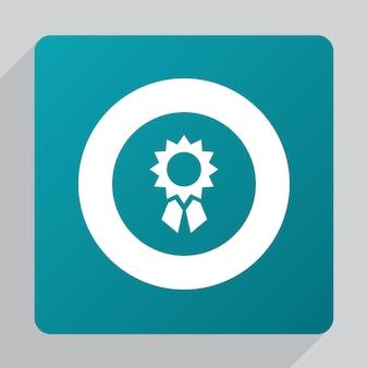 Flat achievement icon, white on green background