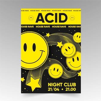 Flat acid emoji poster template