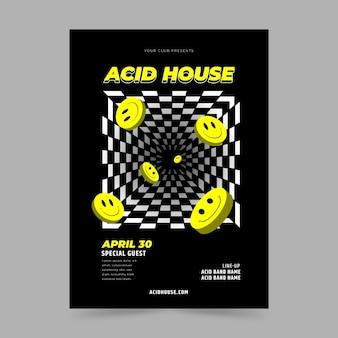 Flat acid emoji poster