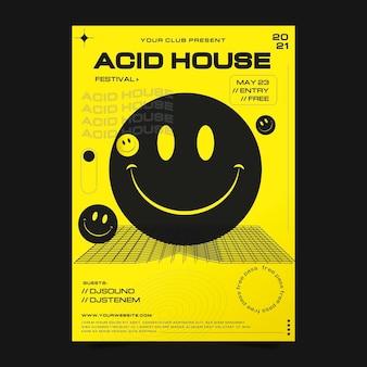 Modello di poster verticale di emoji acido piatto