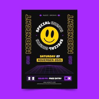 Шаблон вертикального плаката плоской кислоты emoji