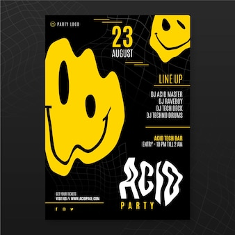 Flat acid house emoji poster template