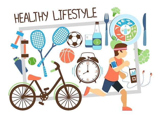 Плоская композиция для активного образа жизни с бегущим человеком, велосипедные ракетки, шары, здоровая пища, часы на иллюстрации