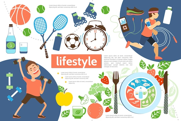 Flat active lifestyle infographic template with athletes sport equipment alarm clock and healthy food illustration