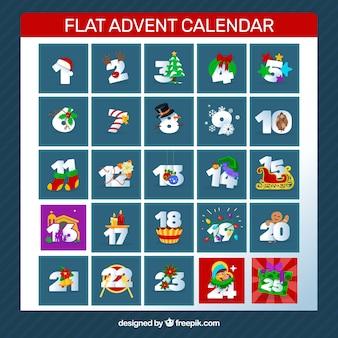 Flat advent calendar in marine blue