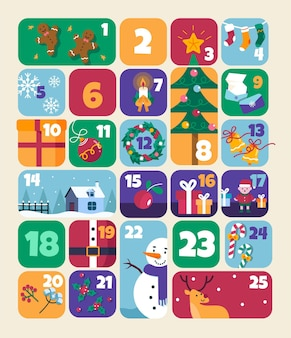 Flat advent calendar with christmas elements
