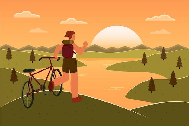 Sfondo piatto avventura con bicicletta