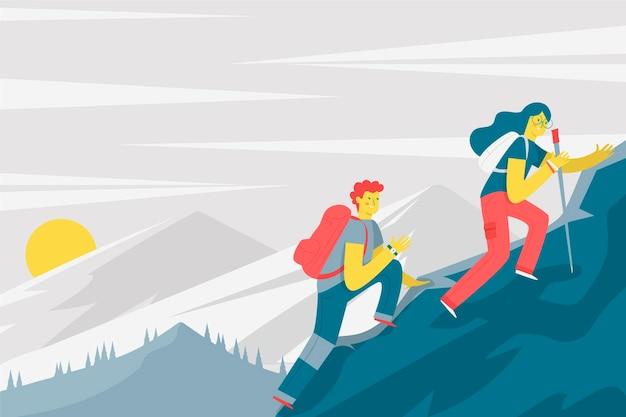 Sfondo di avventura piatto con escursionismo