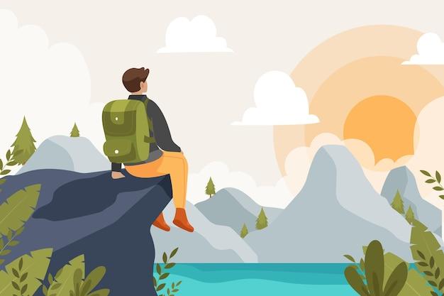 Sfondo di avventura piatto con illustrazione