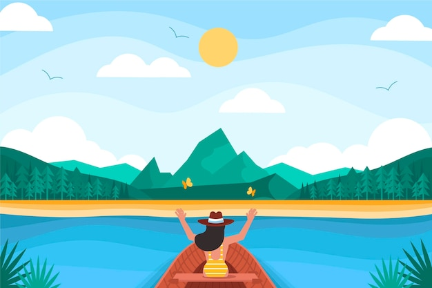 Sfondo piatto avventura con lago