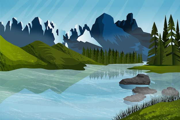 Flat adventure background with mountains