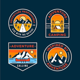 Flat adventure badges collection