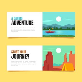 Collezione di banner di avventura piatta