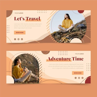 Flat adventure banners set with photo