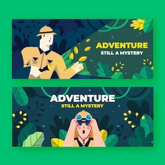 Flat adventure banners set
