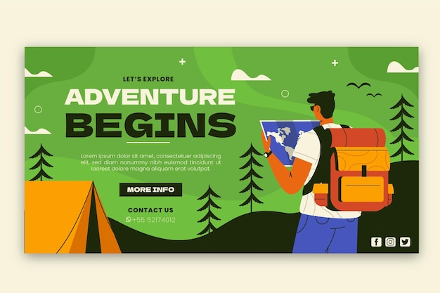 Post di facebook di avventura piatta