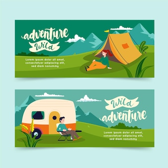 Flat adventure horizontal banners with tent
