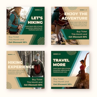 Flat adventure instagram posts collection with photo