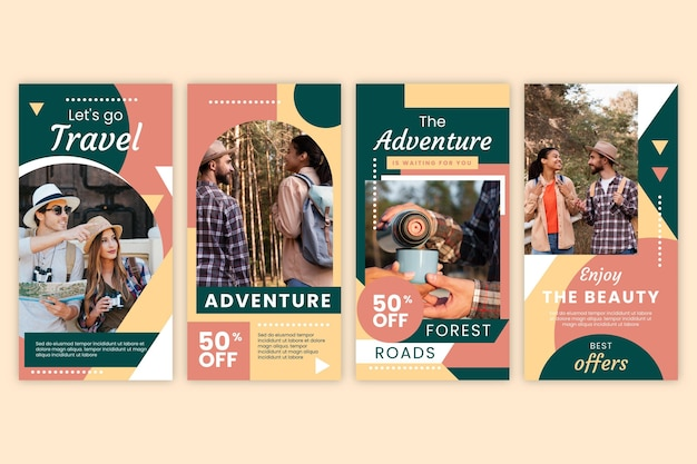 Raccolta di storie di instagram di avventura piatta con foto