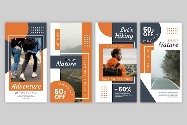 Flat adventure instagram stories collection with photo