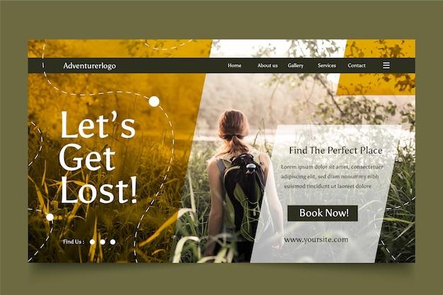 사진이 있는 평면 모험 방문 페이지 템플릿