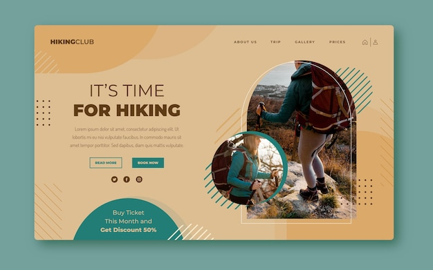 Flat adventure landing page template with photo