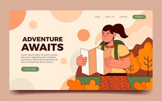플랫 모험 방문 페이지 템플릿