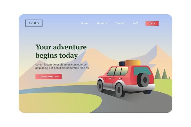 Flat adventure landing page template