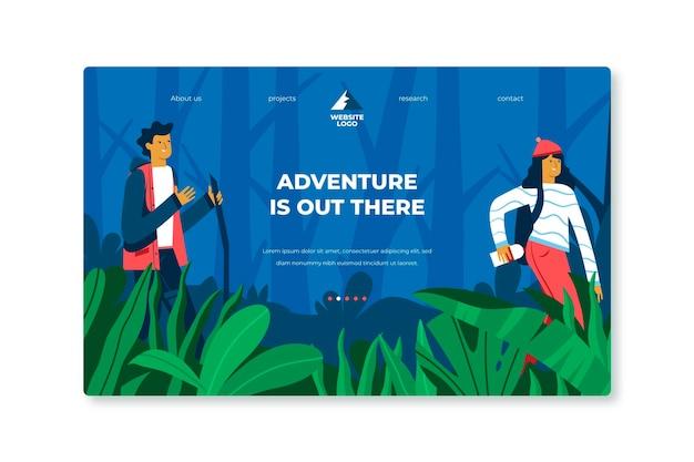 Flat adventure landing page