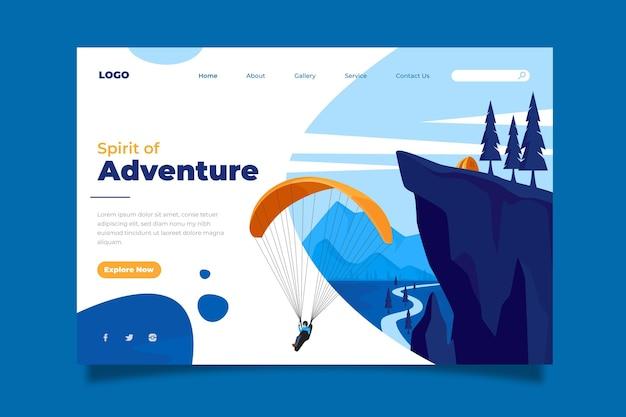 Плоская целевая страница приключения