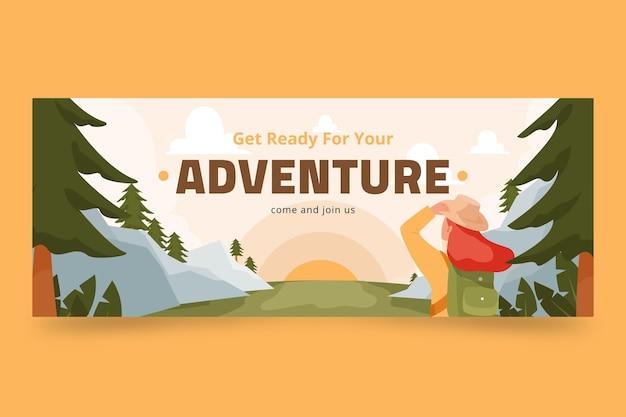 Flat adventure social media cover template