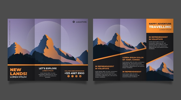 Flat adventure trifold brochure
