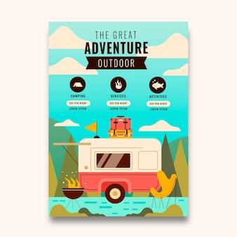 Flat adventure vertical flyer template