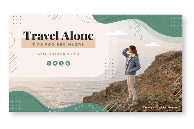 Flat adventure youtube channel art with photo