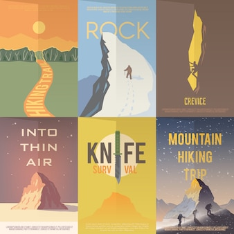 Flat  advertising posters. climbing, hiking.