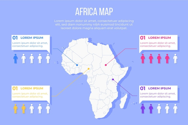 플랫 아프리카지도 infographic