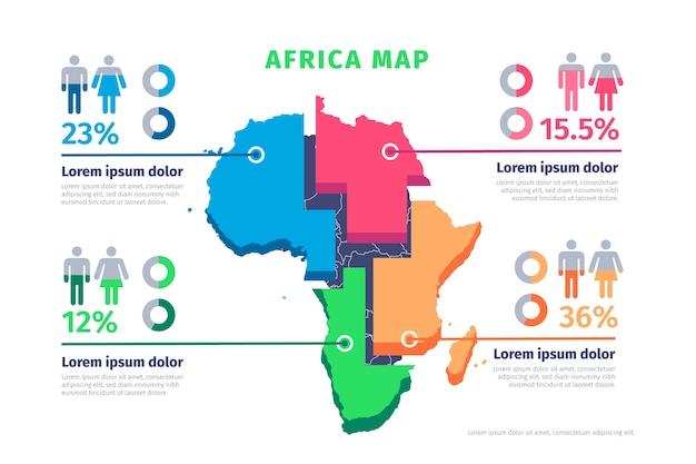フラットアフリカ地図インフォグラフィック