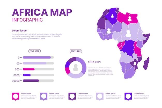 플랫 아프리카지도 Infographic 프리미엄 벡터