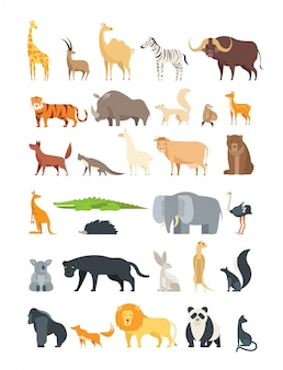 Плоские африканские, джунгли и лесные животные. симпатичные млекопитающие и рептилии. дикая фауна векторный набор изолированных