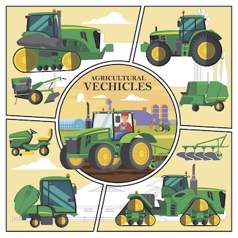 Flat agricultural transport composition with green farm vehicles and farmer driving tractor with plow on field