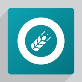 Плоский значок сельского хозяйства, белый на зеленом фоне