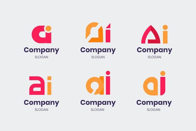 Flat ai logo templates set