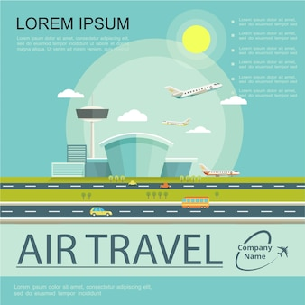 Flat air travel poster