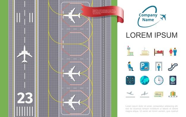 Плоское воздушное путешествие с взлетно-посадочной полосой аэропорта и тематической иллюстрацией значков