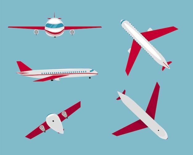 フラット飛行機。航空機の飛行旅行。トップ、サイド、フロントビューの旅客機。フラットスタイル。